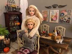 Autumn! Time for leggings, slouchy socks, big sweaters, pumpkin spice EVERYTHING and comfy quilts layered on the bed! (JunqueDollBoutique) Tags: grace kelly barbie autumn fall diorama playscale dining room table japan convention pumpkins rement vintage miniatures sindy chairs pewter brass