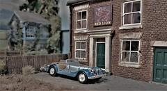 A Drive to the Pub. (ManOfYorkshire) Tags: morgan cararama hongwell car auto scale model 176 oogauge redlion dogley diorama micro layout train railway