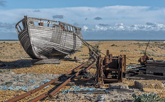 Not going anywhere fast (David Feuerhelm) Tags: abandoned boat rails wreck metal winch beach sky shingle clouds dungeness kent uk england nikon d750 2470mmf28 clinker planking