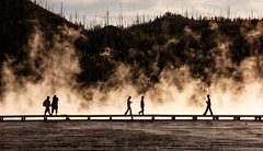 Yellowstone NP, USA 2008 (MonkeyTakingPics) Tags: yellowstone usa america roadtrip nikon d70s travel travelphotography geyer water reflection mist smoke silhouette mystic nature wisconsin nationalpark lake people mountains steam oldfaithful mystical national landscape