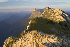 Sunrise on the Vercors (Hug0R) Tags: montagne mountain dawn aube rando randonée hiking hike sony a7ii zeiss sonnartfe1855 vercors alps alpes cliff falaise crete paysage pierre fe55mmf18za sunrise montaiguille sun soleil