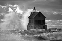 B&W Boom (09 21 2019) (PhotoDocGVSU) Tags: grandhavenmi lighthouse lakemichigan greatlakes gale storm windy waves canon5d3 sigma50500os bigma sunset bw monochrome