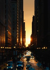 Copperhenge (BlinkOfALens) Tags: chicago street traffic sunset chicagohenge equinox illinois dramatic city cityscape buildings