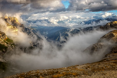 Between the clouds (hunblende) Tags: dolomites mountain mountainrange forest woods valley clouds cloudscape landscape hiking landscapephotography outdoor nature