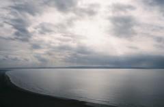 Brean Sands, Somerset, from Brean Down (knautia) Tags: breandown brean somerset england uk october 2018 film ishootfilm olympus xa2 olympusxa2 kodak ektar 100iso nxa2roll81 daytrip seaside footpath nationaltrust sea bristolchannel mist misty beach groynes breansands clouds sky