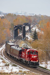 Westbound TEC Train (Going Trackside Photography) Tags: canadian pacific railway canada calgary alberta tec train cp cpr rail explore bridge fall leaves orange 2241