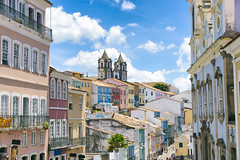 Picture postcard view of the colonial skyline of the historic center of Pelourinho in Salvador da Bahia, Brazil (terraexperiences) Tags: salvador scenic brazil pelourinho skyline postcard view brasil bahia tourism scenics city building portuguese brazilian landmark famousplaces places colonial day architecture bright center historic salvadordebahia pastel salvadordabahia church historiccenter cityscape sky street old oldfashioned bluesky sunlight facade nobody nopeople outdoors exterior horizontal photo photograph photography terranossa brésil nordeste northeastern nossa