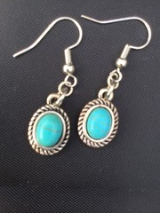 Turquoise and silver oval dangle earrings, nickel free by SilverSkyByJanet (janetdmorris) Tags: etsy crafts shopping turquoise silver oval dangle earrings nickel free by silverskybyjanet