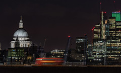 Cathedral and a bus... (Aleem Yousaf) Tags: stpauls cathedral tower 42 natwest heron london bus morning traffic blur lights dawn commuters commercial dome cranes construction skyline historic modern buildings architecture drag downtown nikon 200500mm nikkor long focal length capital fun europe united kingdom glass steel worship classic day city sky building