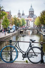 Amsterdam (SJ & Andy - Seeing Double Photography) Tags: amsterdam bike canal church