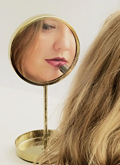 Mirror Mirror (Clare-White) Tags: lila face lips reflecction mirror hair behind lipstick red blonde