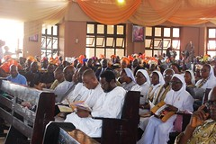 HMIC Alh. Lai Mohammed and entourage at the Holy Mass and Reception for the Centenary Celebration of St. Andrews Catholic Church in his hometown Oro, Kwara State.