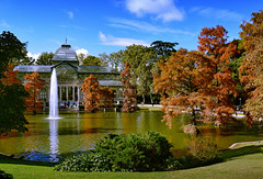 Autumn Colours, Crystal Palace (Jocelyn777) Tags: autumn foliage autumncolours crystalpalace retiropark madrid spain travel reflections waterreflections