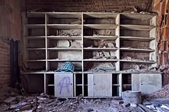 Shelves (jkotrub) Tags: urbex urban explore decay architecture rust dust indoors inside damage graffiti texture photowalk beauty lines time rubble derelict wall brick door masonry wooden worn concrete