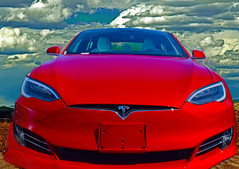 Loneliest Road in America (oybay©) Tags: tesla electric electriccar elonmusk ely nevada elynevada car automobile red sky clouds stormy greatbasinnationalpark nationalpark iconic color colors colorful