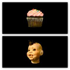 the cupcake kid (pbo31) Tags: bayarea california color pattern october 2018 boury pbo31 fall black cupcake kid head baby sanfrancisco coronaheights siemer doll sweet eat mosaic collage