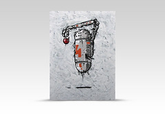 Droid-number-four-[acrylic-on-board]-by-Simeon-Genew-[18x25cm] (simeon genew) Tags: droid robot gray four number orange worm apple arm holding levitation gravity probe technology white