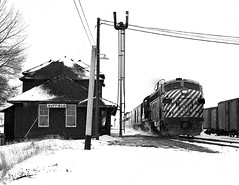 Suffield AB Sunday March 23rd 1975 1140MST (Hoopy2342) Tags: train rail railway railroad passengertrain suffield alta alberta canadianpacific canadianpacificrailway snow station