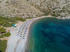 Aerial Nikolaos Beach Hydra, Greece