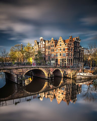 amsterdam reflections (Dennis_F) Tags: europe outdoors amsterdam architecture canal city outdoor sky traveldestination water long exposure autumn nature building orning sunrise light
