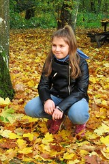 """""""Autumn is cool!"""" :) (green_lover (I wait for your COMMENTS!)) Tags: girl martynka daughter person people family autumn fall leaves"""