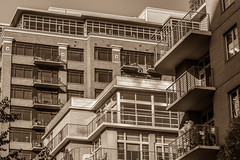 Your Neighbor knows. (Omygodtom) Tags: abstract building people perspective bw town street portland oregon lines d7100 dof composition
