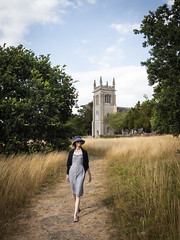 Mariëlle, Suffolk 2018: Leaving the chapel (mdiepraam (30 mln views!)) Tags: suffolk 2018 ickworth nationaltrust marielle portrait pretty gorgeous attractive mature fiftysomething brunette woman lady milf elegant classy hat scarf dress