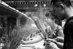 Hong Kong; Pray, Hope, Trust (drasphotography) Tags: hongkong hong kong china travel travelphotography reisefotografie reise monochrome monochromatic blackandwhite bw schwarzweis sw bn bianconero people praying drasphotography nikon d810 nikkor2470mmf28 bokeh woman