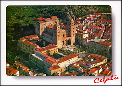 postcard - Cefalu Cathedral 4 (Jassy-50) Tags: postcard cefalú cefalu sicily italy cefalucathedralcefalú cathedralcathedralchurchunesco world heritage siteunesco heritageunescoworld siteworld whs aerial