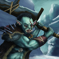 Graveborn Token (ETt_) Tags: mgt magic orc zombie graveborn token ice snow mountains sword green blue blood war digital painting sekuar haste