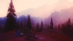 room with a view (nuvoIari) Tags: farcry5 videogame montana mountains trees forest dusk purple cooltones camping
