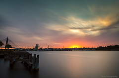 Johnstons Bay (monkcushla1) Tags: sunset sydney australia nsw beautiful clouds red sky water long exposure bay wharf pylons seascape landscape outdoors bridge nature natural