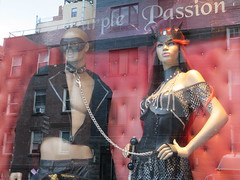 Purple Passion Kink Shop Window S and M Wear 4892 (Brechtbug) Tags: purple passion kink shop window s m wear costumed mannequins store front an adult outfits west side chelsea neighborhood sale costume costumes nyc 2018 new york city off 8th avenue midtown manhattan below hell kitchen westside fashion racy display november 11122018 dog collar mask masks leather fetish clothes