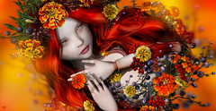 Marigold (meriluu17) Tags: foxcity lode coco sintiklia doll dolly surreal marigold flower flowers orange red autumn fairy elf elven fantasy
