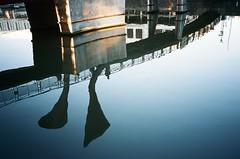 Morning commute, Pero's Bridge (knautia) Tags: floatingharbour perosbridge narrowquay bristol england uk september 2018 film ishootfilm olympus xa2 olympusxa2 kodak ektar 100iso nxa2roll78 commute commuting bridge footbridge harbour docks reflection myfavouritefromtheroll