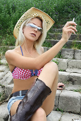 Sandy 85 (The Booted Cat) Tags: sexy long blonde hair girl cowgirl legs sunglasses smoking cigarette boots cowboyboots