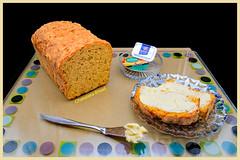 Give us our daily bread. (Johann (Sasolburg, RSA.)) Tags: smileonsaturday copyrightbymankind bread jam butter knife bowl tray glass cardboard johanndejager ef24105mmf4lisiiusm canoneos5dmarkiv
