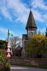 Spire of St Peter & St Paul's Church, Worth (joshtilley) Tags: stpeterstpaul stpeterstpaulworth stpeterandstpaul stpetersandstpauls stpeterandstpaulschurch stpetersandstpaulschurch stpeterandstpaulschurchworth worthchurch worthkent kentchurch kent eastkent sandwich deal worthdeal saintpetersaintpaul saintpeterandsaintpaul ukchurch britishchurch englishchurch medievalchurch medievalarchitecture medievalbuilding medieval medievalera 12thcenturychurch 12thcentury 12thcenturyarchitecture normanchurch norman normanarchitecture normanera spire churchspire churchtower tower schoolsign redsigns lamppost streetlight clocktower