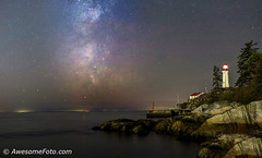 Milky Way with lighthouse (james c. (vancouver bc)) Tags: red reflection westvancouver bc canada night park ocean outdoor peaceful rock sky summer autumn tree vancouver water britishcolumbia lighthouse blue cloud cliff green yellow orange starburst starfield atmosphere background cluster coast constellation galaxy infinite milkyway nature outdoors pacific science sea space star starry stellar twinkle universe vast