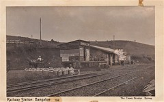 Railway Station at Bangalow, N.S.W. - early 1900s (Aussie~mobs) Tags: vintage australia newsouthwales milkcans railwaystation bangalow horseandcart advertising railwaytracks aussiemobs