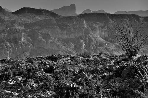 Mountainside After Mountainside Until Pico de Cerda (Black & White, BIg Bend National Park)