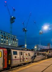 "91110 ""Battle of Britain Memorial Flight"" LNER London Kings Cross 23.10.18 (Paul David Smith (Widnes Road)) Tags: 91110 battleofbritainmemorialflight lner london kings cross 231018 crane skyline dawn daybreak"