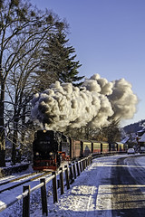 Wernigerode street steam (Nigel Valentine) Tags: harz wernigerode snow steam germany narrow gauge black red