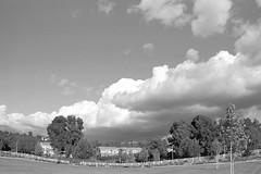 Heavy Clouds, Valencia, CA (Ted Truex) Tags: bw canoneos1n clouds fence grass iso400 kodak400tmaxfilm kodakblackwhitefilm otherkeywords tmax400 tedtruex tedtruexphotography blackandwhite