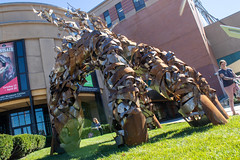 Bugs-Eye View (derekbruff) Tags: artprize grandrapids theentomologist art giant hand metal sculpture
