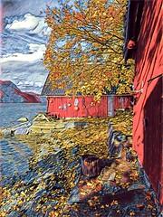 Slagstad naust -|- Red boat houses (erlingsi) Tags: naust gloppen prismatic erlingsi iphone erlingsivertsen slagstad sandane