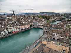 Zürich from Above (Anthony Kernich Photo) Tags: zurich switzerland swiss europe city cityscape view travel buildings architecture panorama panoramic urban schweiz european olympusem10 olympus olympusomd microfourthirds lumix grossmunster limmat zuerich above zürich