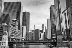 Chicago River (EXPLORED) (mfhiatt) Tags: dscf04510318jpg chicago river blackandwhite travel urban skyscrapers skyline loop downtown midwest fujix100f