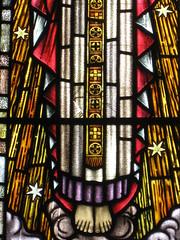 Detail of the John McAllister Vincent Memorial Stained Glass Window; Christ Church, Brunswick - Glenlyon Road, Brunswick (raaen99) Tags: deco artdeco decostainedglass artdecostainedglass brooksrobinsonandcompany brooksrobinsoncompany brooksrobinsonstainedglass brooksrobinsoncompanystainedglass brooksrobinsonandcompanystainedglass stainedglass 20thcenturystainedglass twentiethcenturystainedglass 1952 1950s postwar postwarartdeco christchurch christchurchbrunswick christchurchofengland christchurchanglican churchofengland anglicanchurch anglican brunswickchurch brunswick glenlyonroad glenlyonrd church placeofworship religion religiousbuilding religious melbourne victoria australia architecture building window lancet lancetwindow biblical bible resurrection resurrectionofjesus theresurrection jesus malesaint holyspirit johnmcallistervincentmemorialstainedglasswindow johnmcallistervincent worldwariimemorial secondworldwarmemorial memorial memorialstainedglasswindow jesujoyofmansdesiring