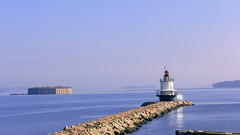 Spring Point and Fort Gorges (Patricia McAtee - Photos of Maine) Tags: lighthouse beacon fort fortgorges cascobay springpointledgelighthouse rocks rockycoast bay